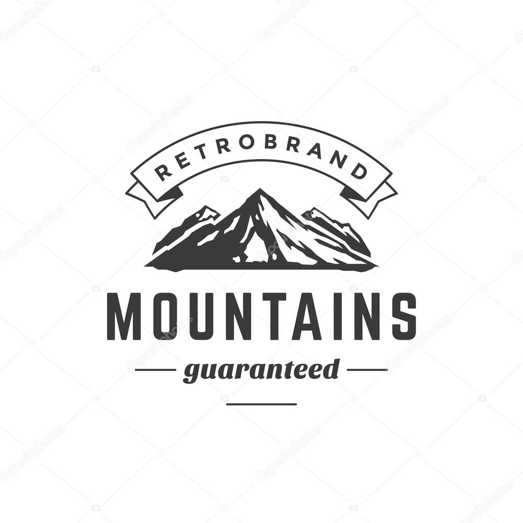 mountain vintage logo template emblem high rock silhouette stock