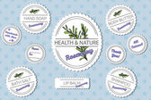 Fotografie Set of labels for natural bath body products with rosemary