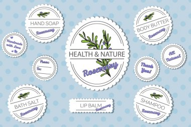 Set of labels for natural bath body products with rosemary