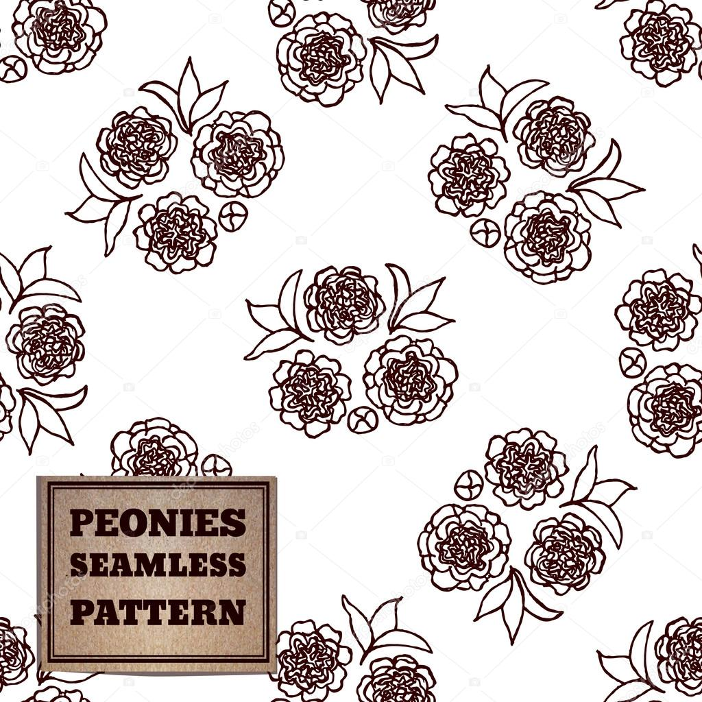 Seamless pattern with bouquet of peonies