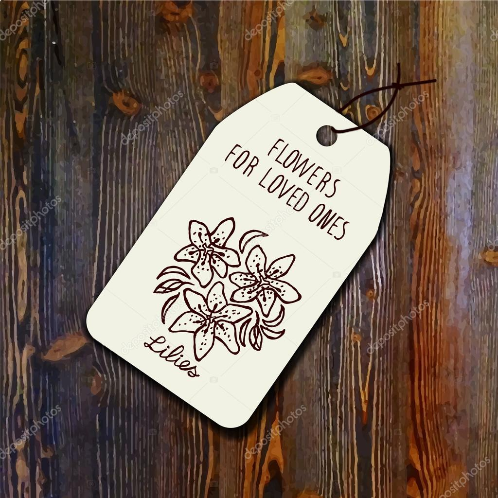 Tag template with bouquet of lilies