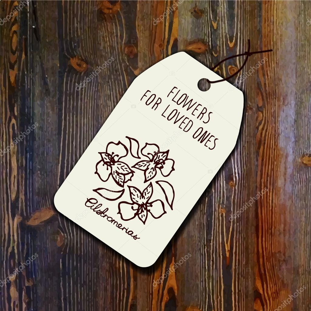 Tag template with bouquet of  alstroemerias