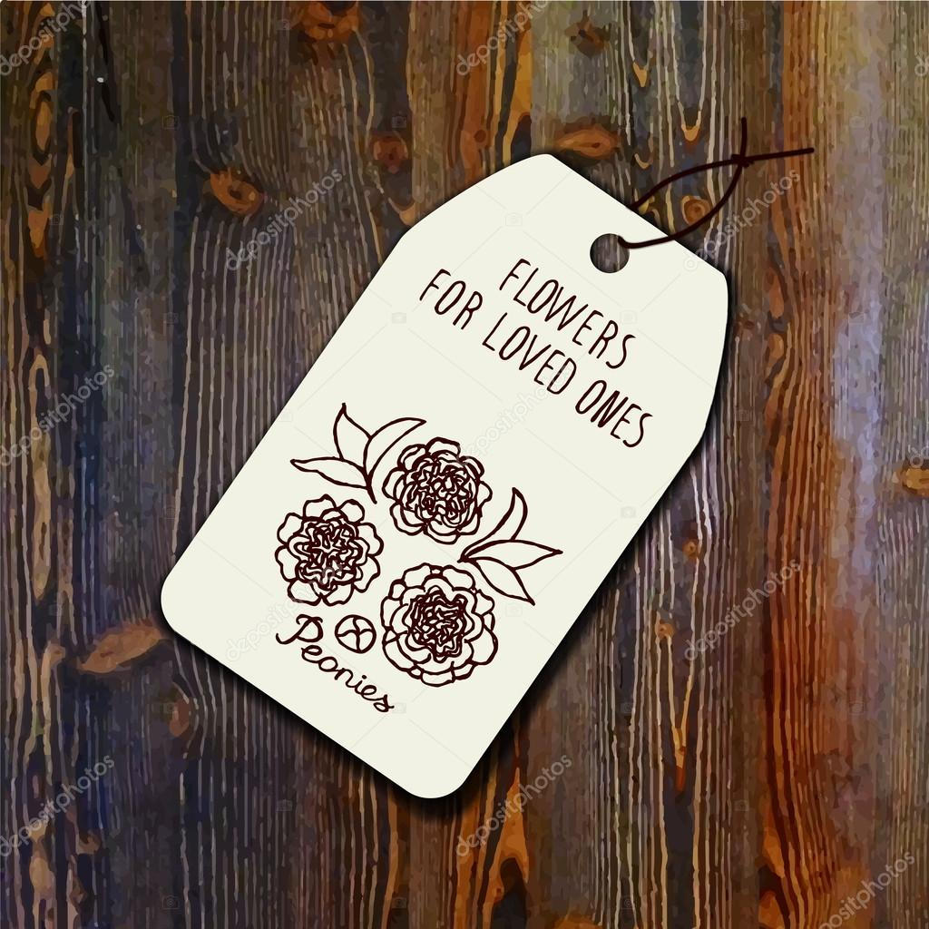 Tag template with bouquet of peonies