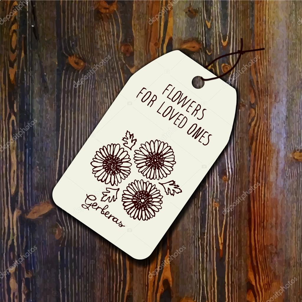 Tag template with bouquet of gerberas