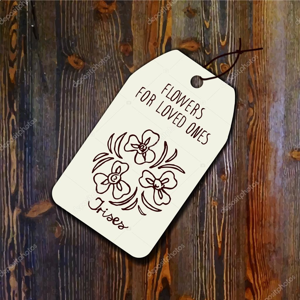 Tag template with bouquet of irises
