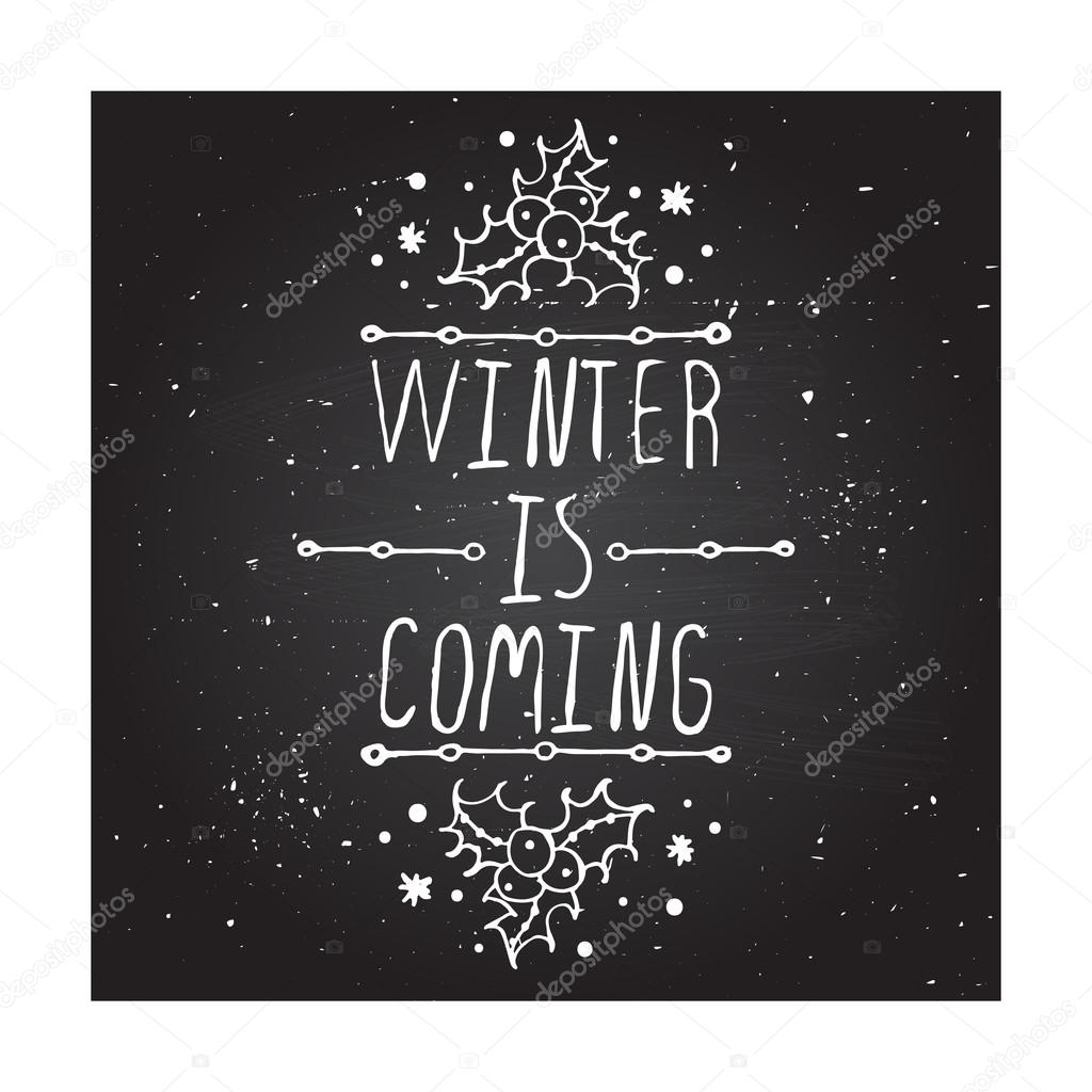 Winter greeting card with text on chalkboard background stok winter greeting card with text on chalkboard background stok vektr m4hsunfo
