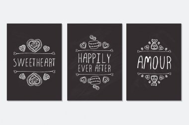 Set of Saint Valentines day cards.