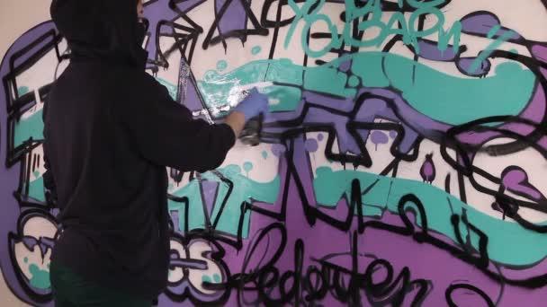 Mladá dívka maluje graffiti na zdi