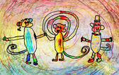 dětská kresba tří opic