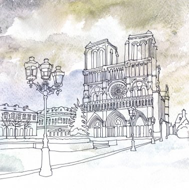 Drawing of Notre Dame de Paris, France