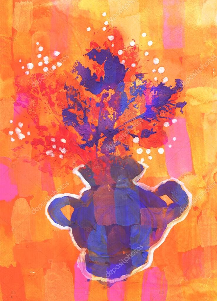 Child's drawing of a colorful bouquet of flowers in a small vase over a vivid backgroun stock vector