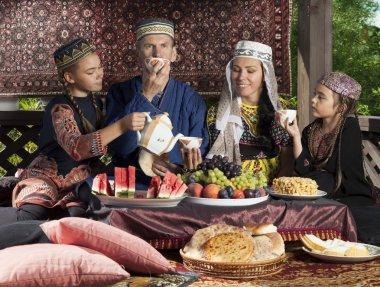 Uzbekistan family have breakfast