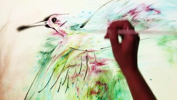 Vodní obraz ptáka