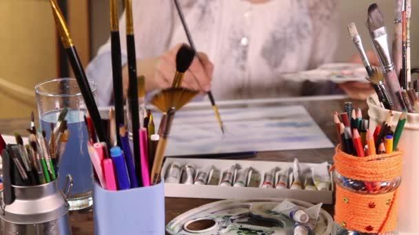 Blurry artist painting