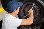 Photo Mechanic Fixing Car Tire