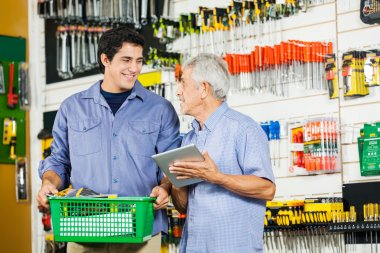 Father And Son In Hardware Store