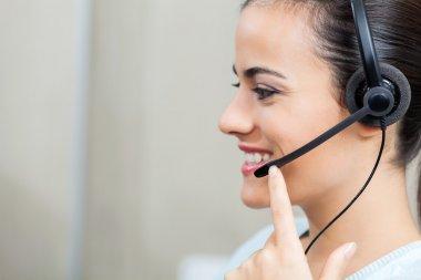 Customer Service Representative Using Headset