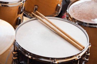 Sticks On Drum In Recording Studio