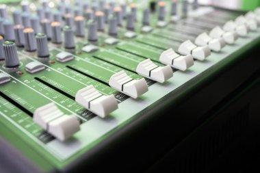 Closeup Of Buttons On Music Mixer