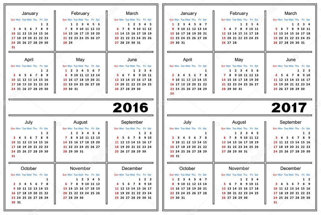 Calendar Template 2016 2017 Stock Vector Silantiy 83100840