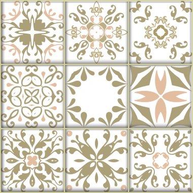 Set with ornamental tile backgrounds