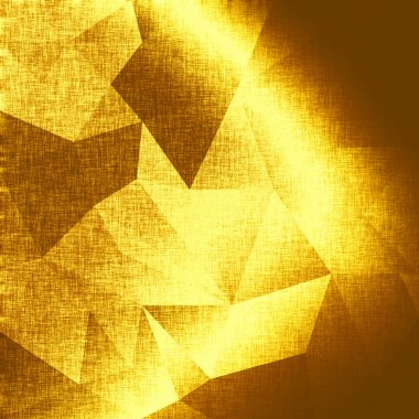 Abstract gold background, metallic triangles. Golden backdrop. Glowing fabric template. Polygonal geometric background. Low poly style