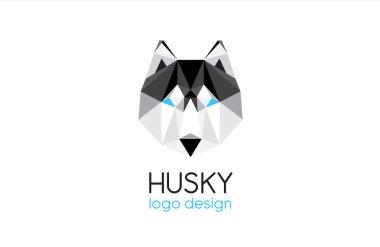 Husky dog head logo design - vector illustration - isolated on white background stock vector
