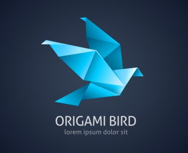 origami bird logo abstract icon - vector illustration