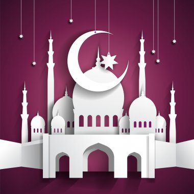 Ramadan background with 3d paper mosque - hari raya - vector ill