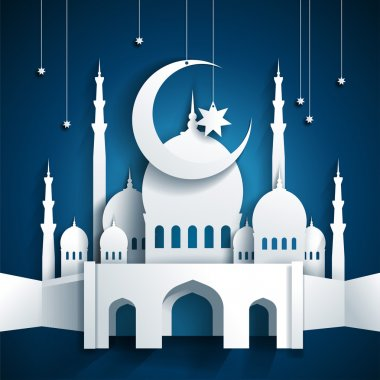 3d mosque and crescent moon with stars - Ramadan Kareem or Ramaz