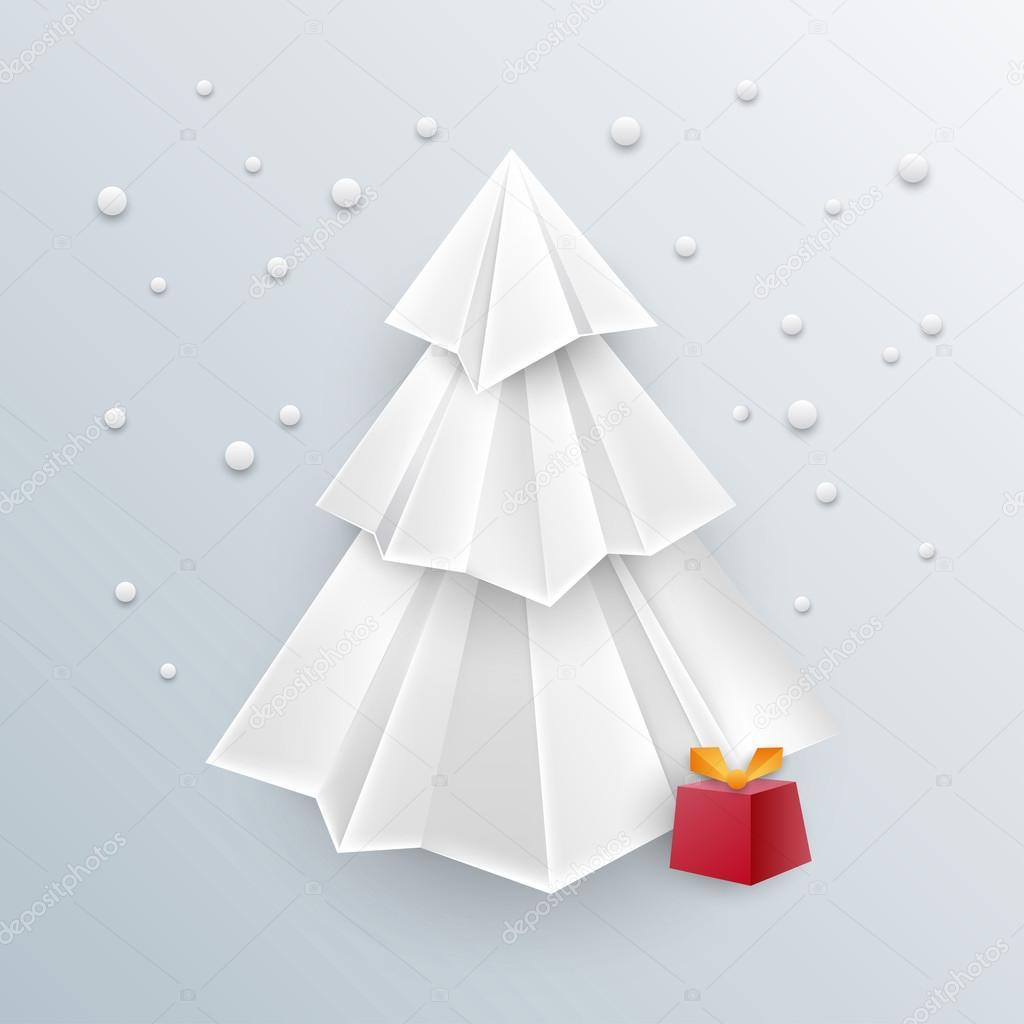 ehrfürchtig Weihnachten Origami Hintergrund - 3d Weihnachtsbaum ...