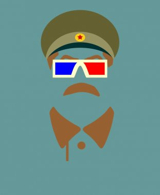 Vector portrait of Joseph Stalin. Stereo glasses