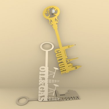 Various keys with landmarks, factory, gas rig and pump jack