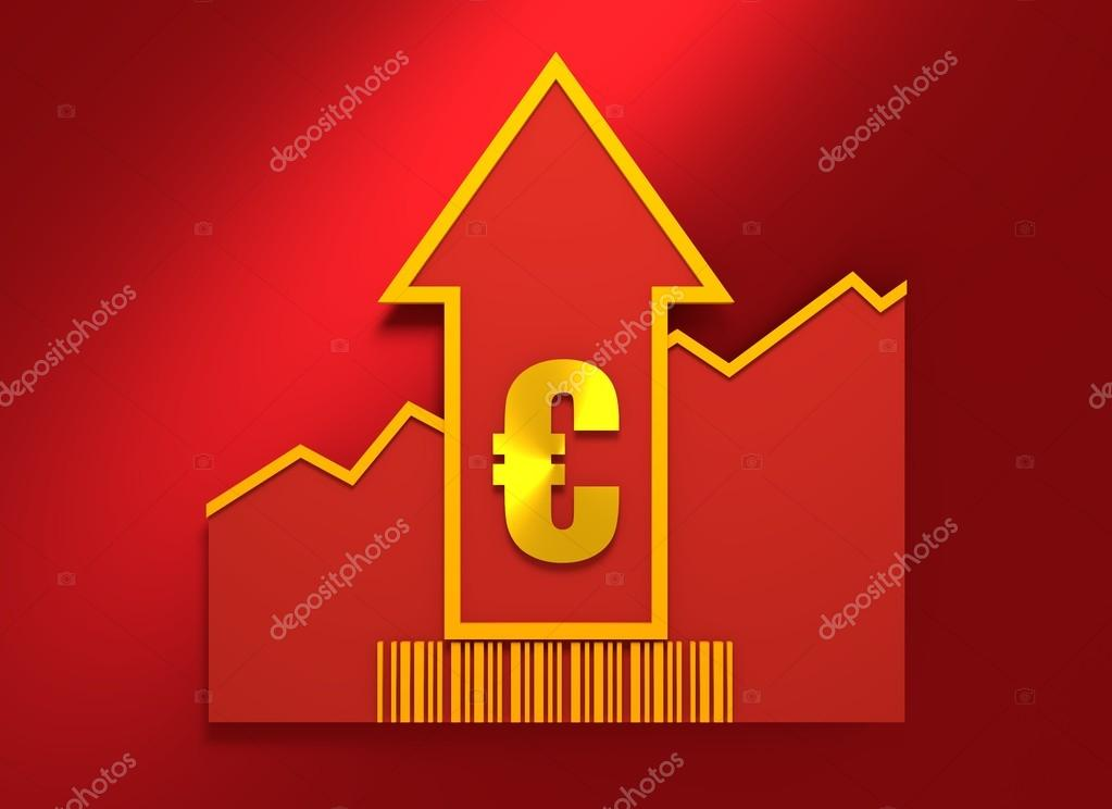 Euro Sign On Grow Up Arrow And Bar Code Stock Photo Jegasra