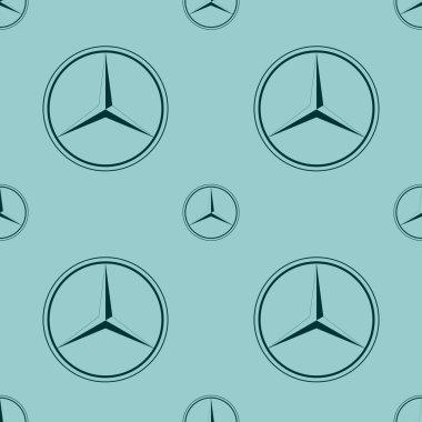 Mercedes Benz emblem on blue background.