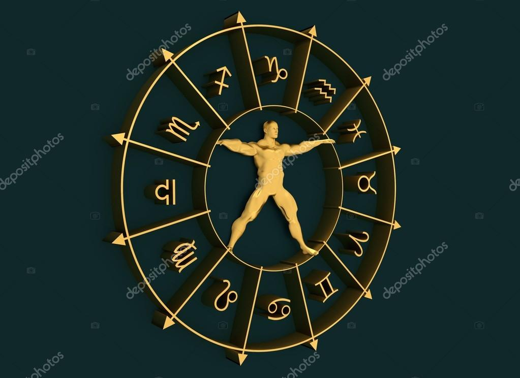 Astrology Symbols Circle Muscular Man In Center Stock Photo