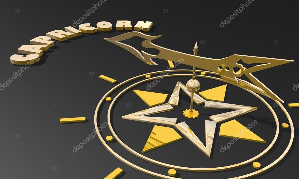 Golden Compass Pointing The Capricorn Zodiac Sign Name Stock Photo
