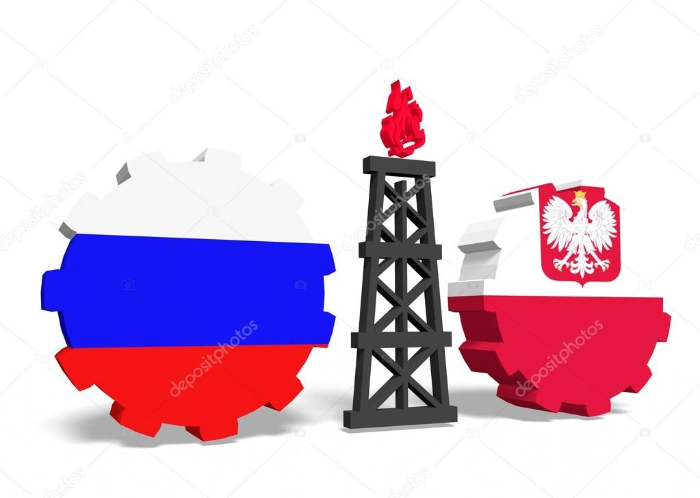 russian and poland flags on gears, gas rig between them