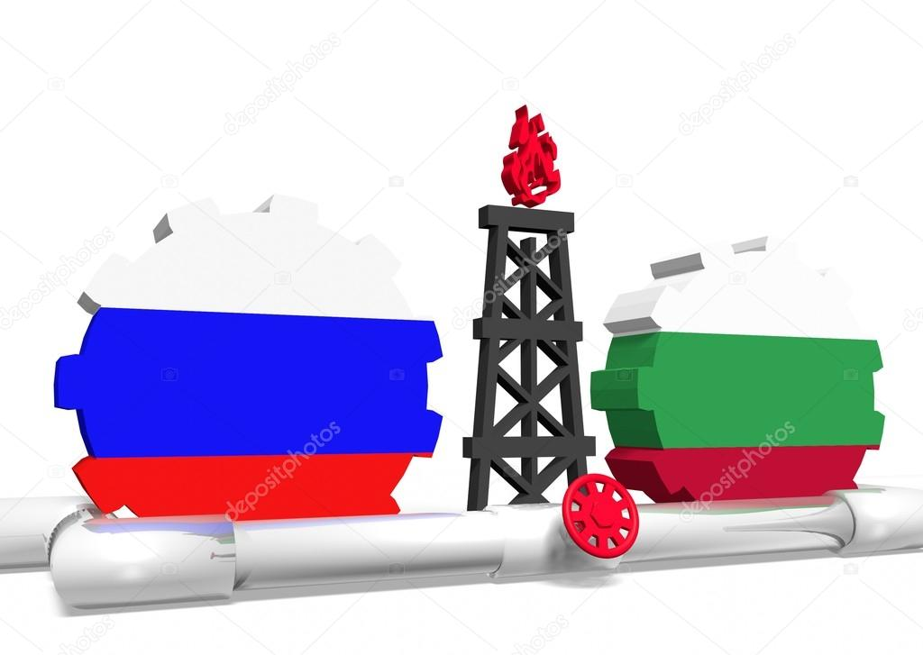 russian and bulgaria flags on gears, gas rig, pipeline — Stock Photo
