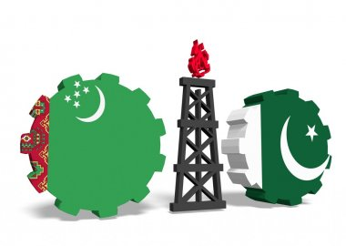 turkmenistan and pakistan flags on gears, gas rig between them