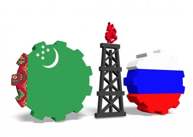 turkmenistan and russian flags on gears, gas rig between them