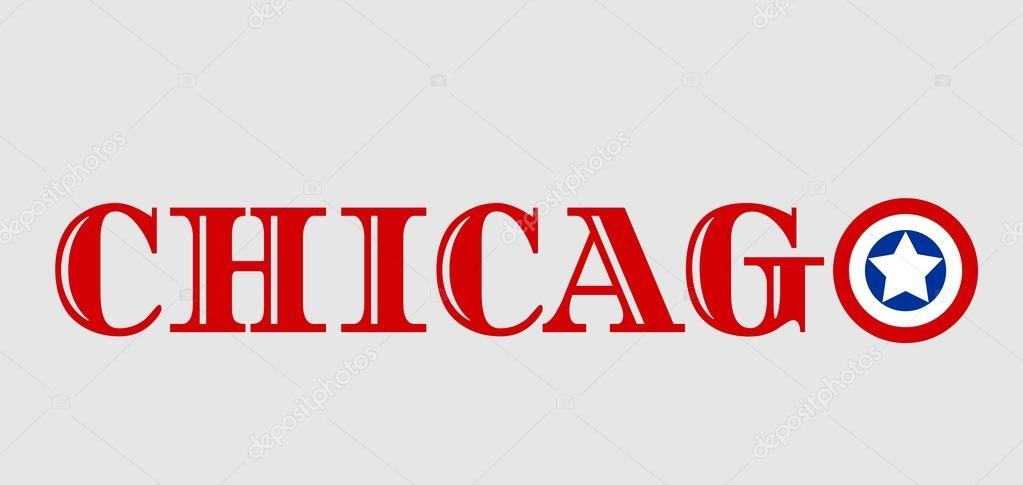 nom de la ville de chicago avec les couleurs du drapeau de. Black Bedroom Furniture Sets. Home Design Ideas