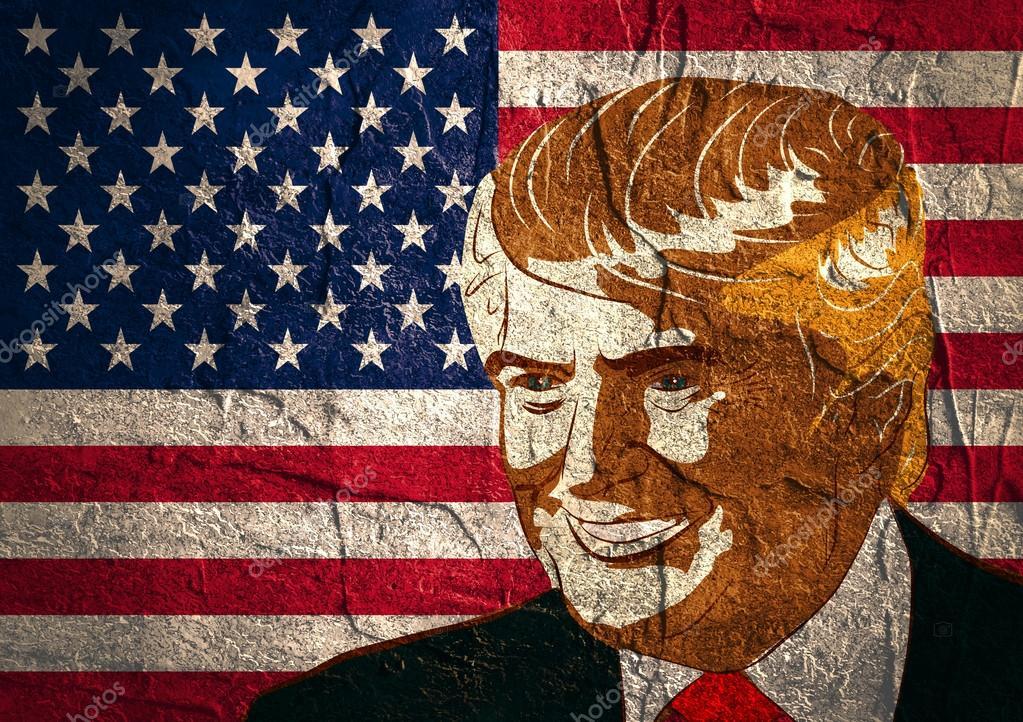 Sketch portrait of Republican Presidential Candidate Donald Trump