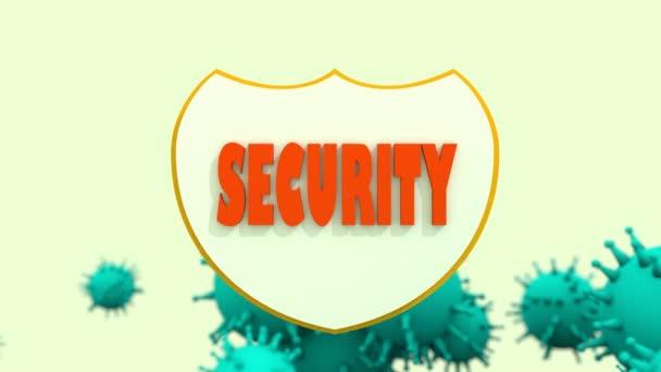 scudo con testo sicurezza e virus modelli. Riepilogo del programma di sicurezza