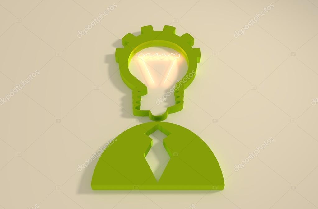 Lampe Kopf Geschäftsmann 3D-Symbol — Stockfoto © JEGAS_RA #97410894