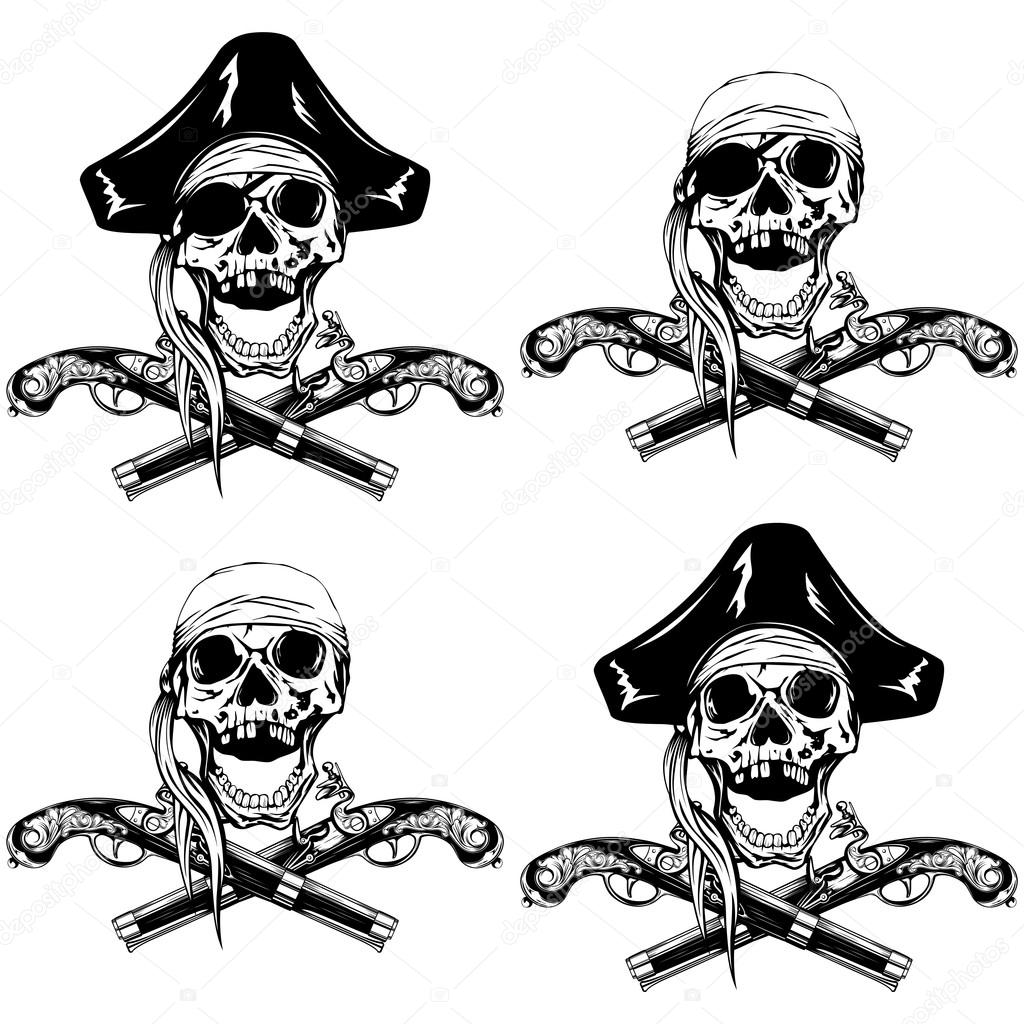 pirate skull pistols set u2014 stock vector ss1001 122589780