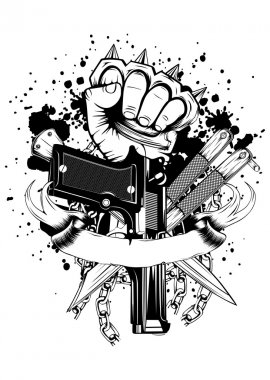 hand with knuckledusters pistols knifes