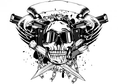 skull two pistols and crossed knifes