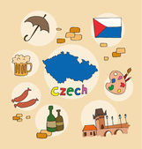 The set of national profile of theczech  cartoon state of the world isolated
