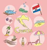 Fotografie The set of national profile of the croatia cartoon state of the world isolated